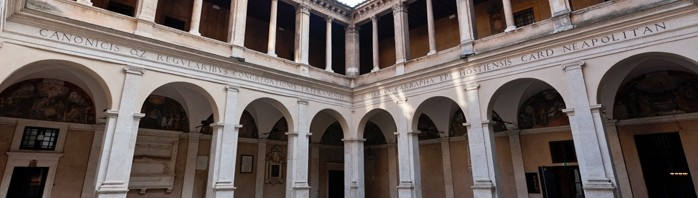 Courtyard of the Chiostro del Bramante in Rome